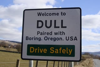 Dull sign, Paired with Boring