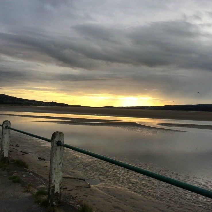 sunset over river kent estuary