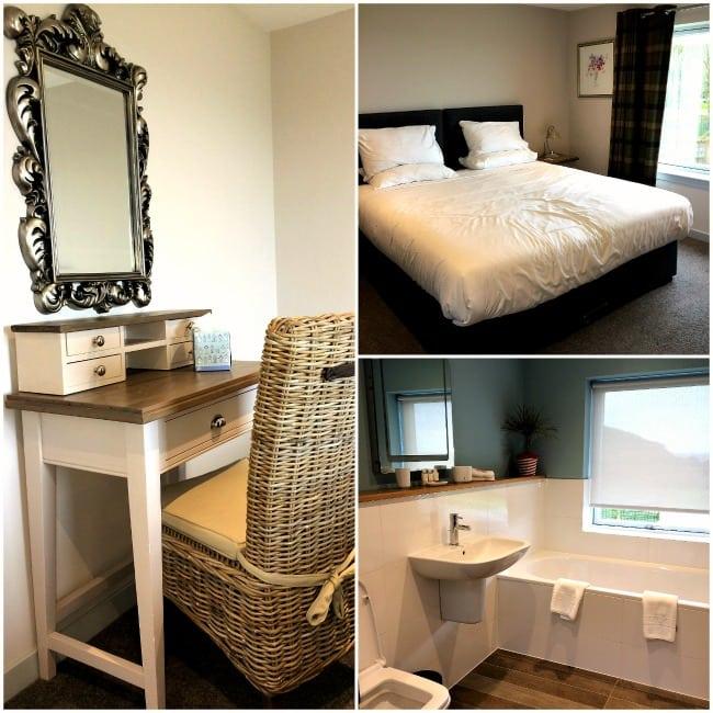 Bedroom and bathroom, Shingle Lodge, Knockinaam