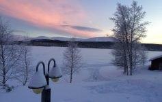 View of Lake Akaslompolo from Hotel YllasHumia