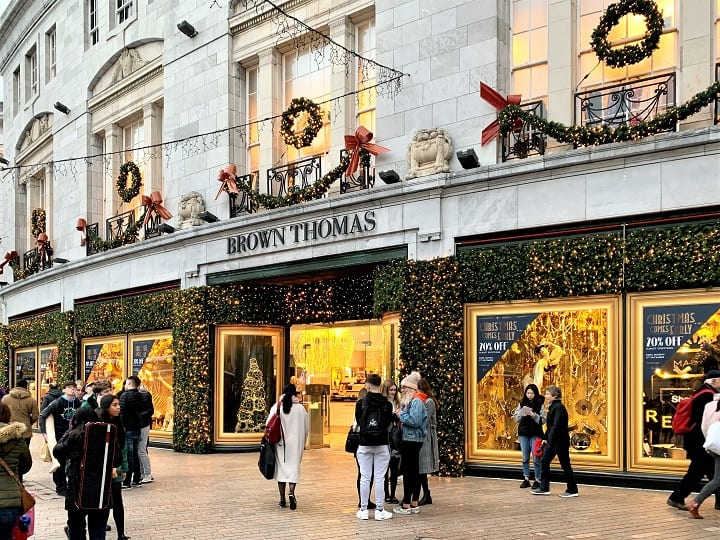 Department store in Cork at Christmas