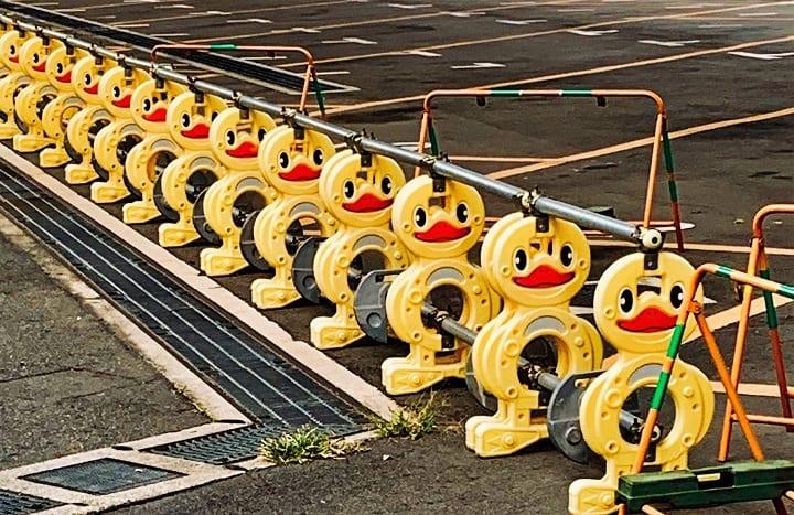 Cartoon traffic barriers in Japan