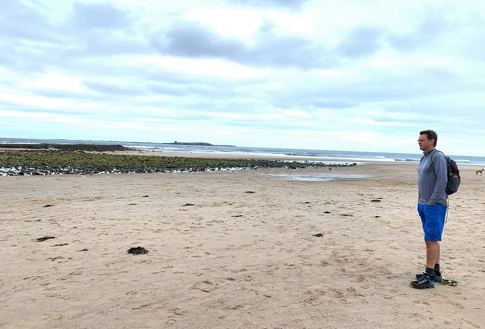 Beach with Farne Islands in the distance